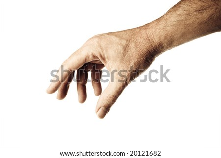 well shaped male hand and arm reaching for something.personal editing - stock photo