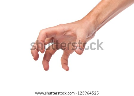 Well shaped male hand reaching for something isolated on a white background - stock photo