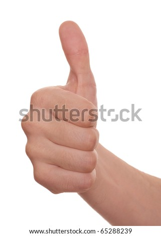 well shaped men's hand make thumbs up isolated over white - stock photo