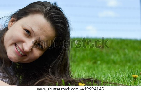 Well spent free time - girl enjoys her day off. Healthy lifestyle - stock photo