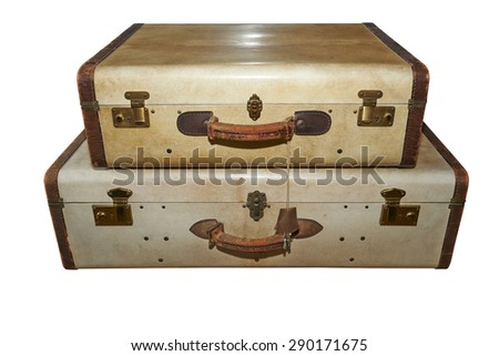 Well-traveled vintage suitcase isolated on white with clipping path - stock photo
