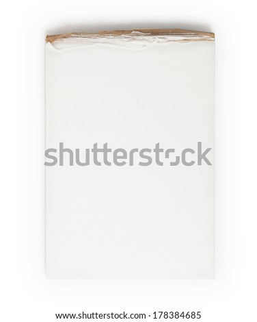 Well used blank memo pad isolated on white  - stock photo