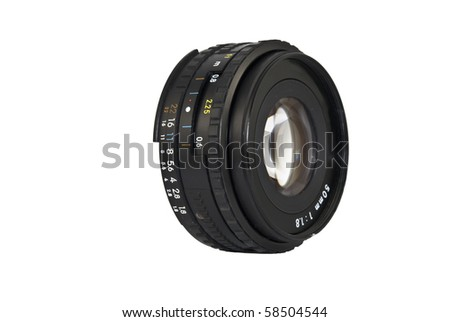 Well used 50mm Camera Lens on White Background - stock photo