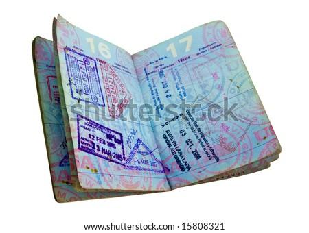 well-used open US passport - stock photo