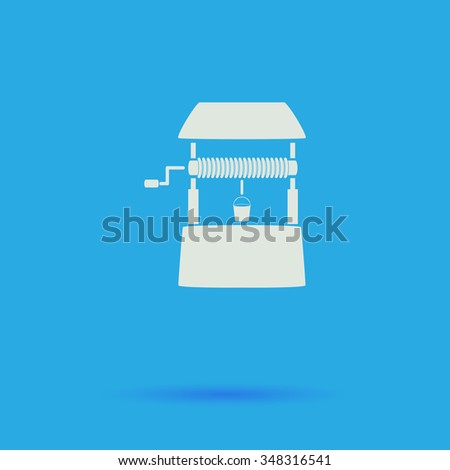 well White flat simple pictogram on blue background with shadow  - stock photo