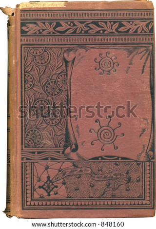 Well worn blank book cover from late 1800's. Some grunge and wear intact. - stock photo