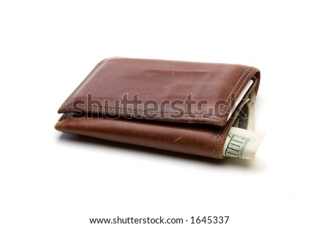 Well worn brown leather billfold with $100 bill sticking out.