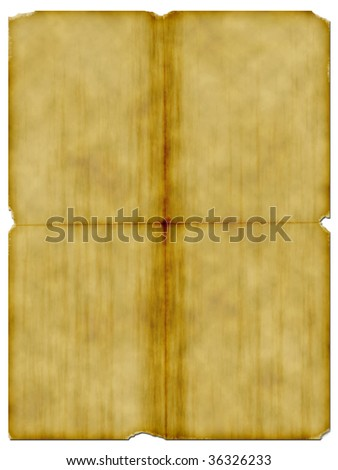 Well worn sheet of old parchment on white background