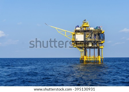 Wellhead remote platform for oil and gas production process, Energy and petroleum industry,  - stock photo