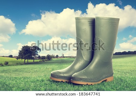 Wellington boots in country landscape - vintage tone effect added - stock photo