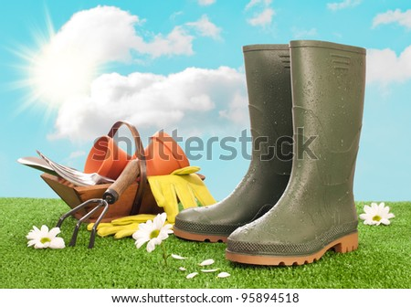 Wellington boots with trug of garden tools in background - stock photo