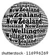 Wellington capital city of New Zealand info-text graphics and arrangement concept on white background (word cloud) - stock photo