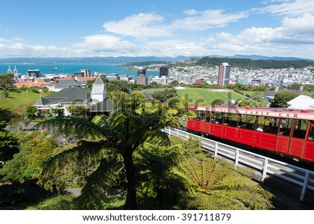 Wellington city view from the Cable Car at New Zealand capital city - Wellington - stock photo