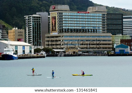WELLINGTON - FEB 22: Wellington harbor on February 22 2013 in Wellington NZ. Wellington is the capital city and second most populous urban area of New Zealand as It is home to 395,600 residents.