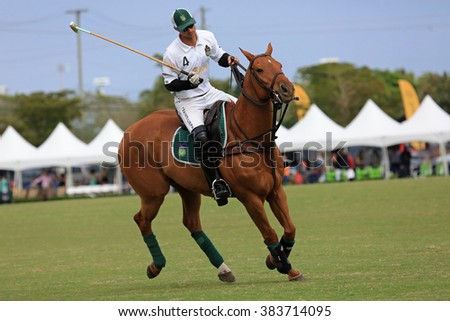 WELLINGTON, FLORIDA/USA - February, 21, 2016: Fast action polo match on February 21, 2016 in Wellington, Florida, with skilled riders and horses. - stock photo