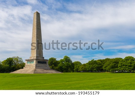 Wellington Monument on a spring day in Phoenix Park - stock photo