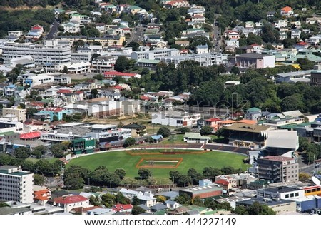 Wellington, New Zealand - city view with rugby stadium
