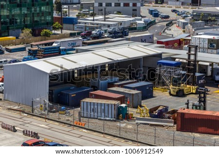 Wellington, New Zealand - December 23, 2017: View of CentrePort Wellington. New Zealand's intermodal hub, road, rail, domestic and international shipping services.