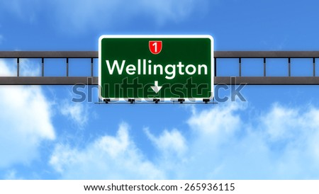 Wellington New Zealand Highway Road Sign