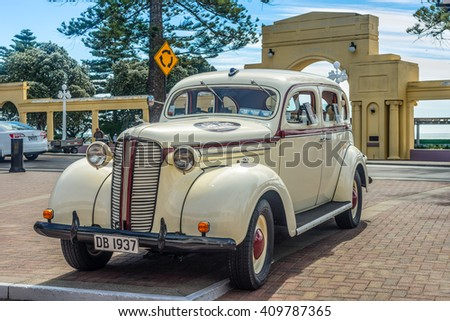 WELLINGTON, NEW ZEALAND - NOVEMBER 19, 2014: Classic 1937 Dodge D5 'Charlie' automobile parked on Marine Parade in the art deco town of Napier Hawke's Bay New Zealand. - stock photo