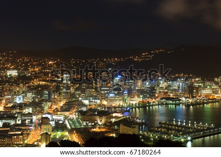 Wellington New Zealand seen from Mt Victoria - stock photo