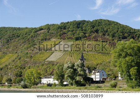 "WELLMICH, GERMANY - 16.10.2016 The view of small town. This is a famous tourist route ""Castles of the Rhine""."