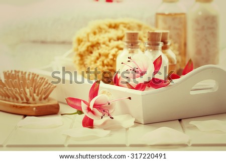 Wellness and bath accessories in vintage look - stock photo