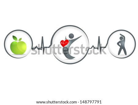 Wellness and healthy heart symbol. Healthy food and fitness leads to healthy heart and life. - stock photo