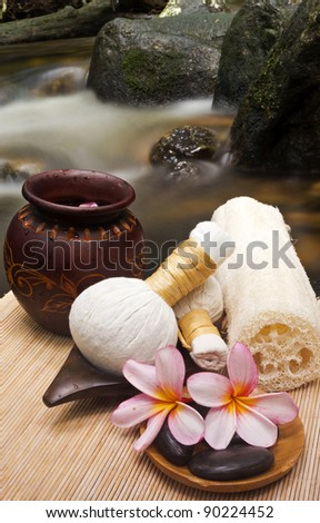 wellness and natural spa concept at waterfall - stock photo