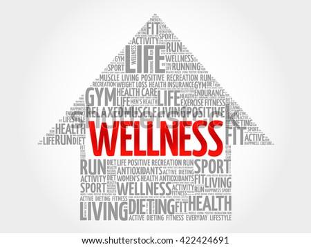 WELLNESS arrow word cloud, health concept - stock photo