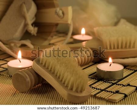wellness, candle - stock photo