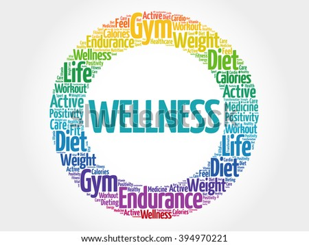 WELLNESS circle stamp word cloud, fitness, sport, health concept - stock photo