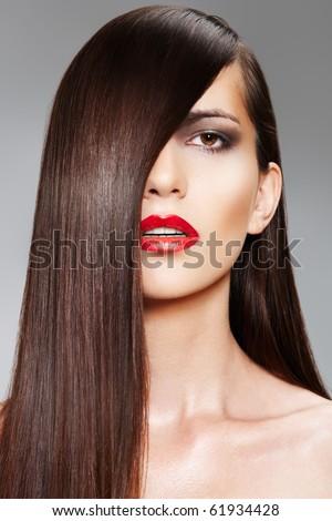 Wellness & cosmetics. Woman with shiny long hair - stock photo