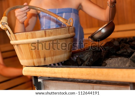 wellness in the sauna of a thermal bath - stock photo