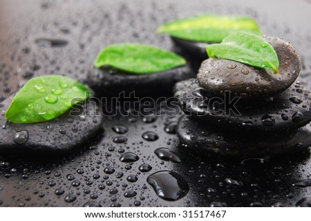 wellness massage or bath concept with zen stones leafes and water drop