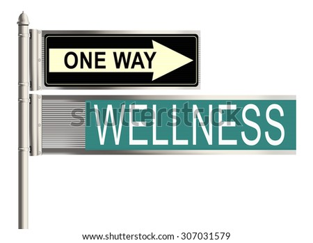 Wellness. Road sign on the white background. Raster illustration.