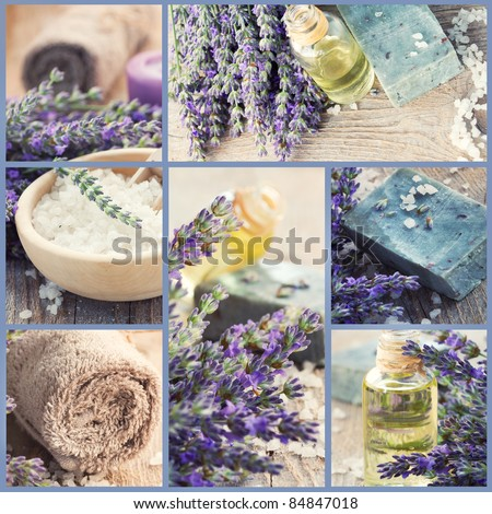 Wellness Spa collage of fresh lavender products images. Lavender oil, natural handmade soap, bath salt on old rustic wooden background.