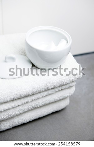 Wellness, white towels and cotton pads
