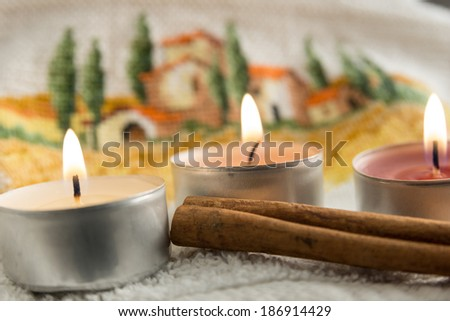 Wellness with candles and spices - stock photo
