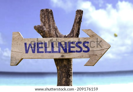 Wellness wooden sign with a beach on background  - stock photo