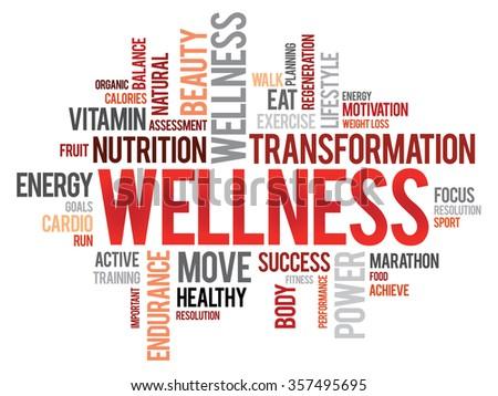 WELLNESS word cloud, fitness, sport, health concept - stock photo