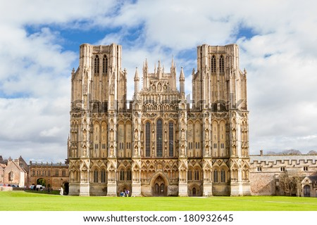 Wells Cathedral dedicated to St Andrew and built in the Gothic Style, Somerset England UK Europe - stock photo