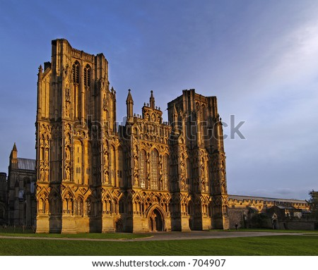 Wells Cathedral in Somerset England - stock photo