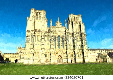 Wells Cathedral Somerset England first English to be built in Gothic style illustration like oil painting - stock photo