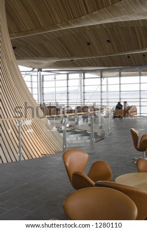 Welsh Assembly Building public gallery and cafe seating lounge. - stock photo