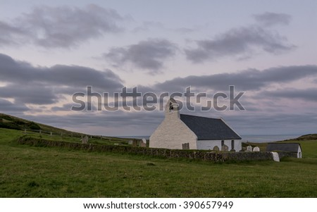 Welsh chapel, located in Mwnt, on Cardigan coast, on a summers evening - stock photo