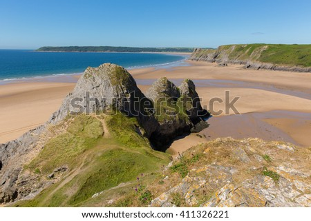 Welsh coast Three Cliffs Bay the Gower Peninsula Swansea Wales uk