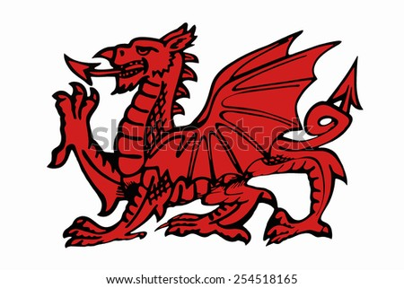 Welsh Dragon - appears on the national flag of Wales. The flag is also called Y Ddraig Goch. The oldest recorded use of the dragon to symbolize Wales is in the Historia Brittonum,  around AD 829. - stock photo