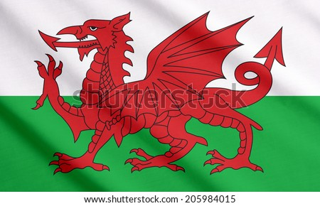 Welsh flag waving - stock photo