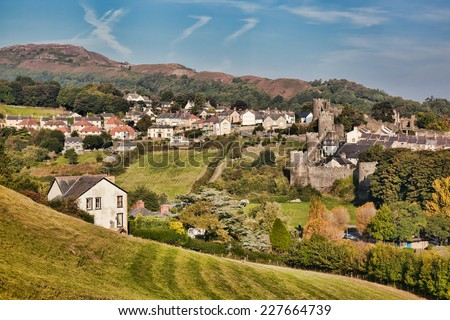 Welsh landscape with part of Conwy town, United Kingdom - stock photo